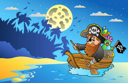 ship sky: Night seascape with pirate in boat - vector illustration. Illustration