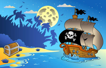 pirate boat: Night seascape with pirate ship 1 - vector illustration. Illustration