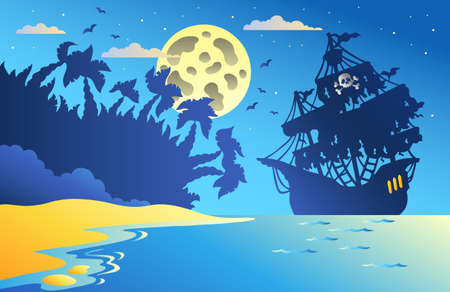 historical ship: Night seascape with pirate ship 2 - vector illustration. Illustration