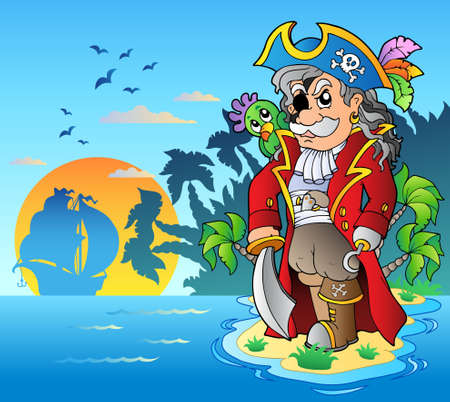 corsair: Noble corsair standing on island - Vector illustration. Illustration