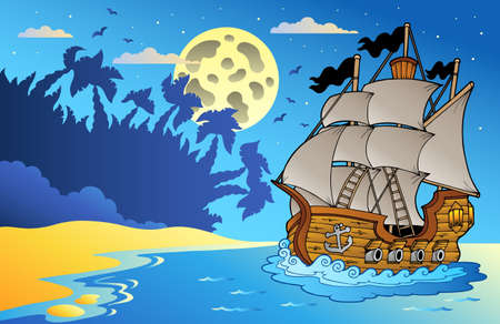 old moon: Old vessel at night near beach - vector illustration.