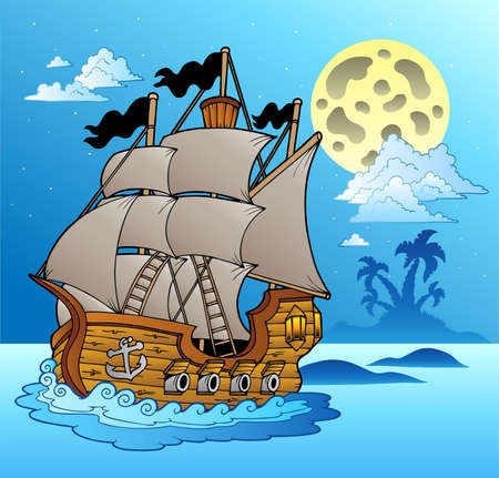 floating island: Old vessel in night seascape - vector illustration.