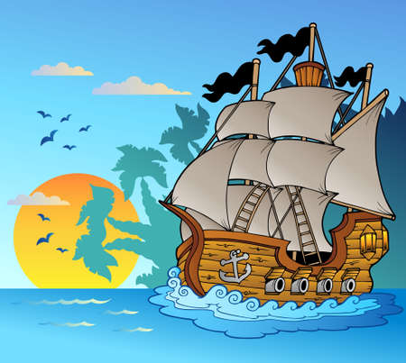 sailing vessel: Old vessel with island silhouette - Vector illustration.