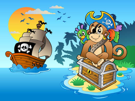 pirate hat: Pirate monkey and chest on island - vector illustration. Illustration