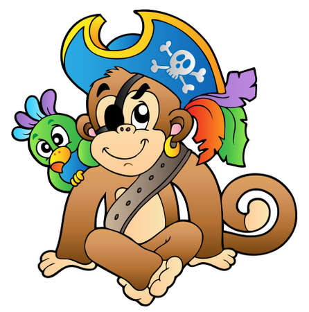 Pirate monkey with parrot - vector illustration. Vector