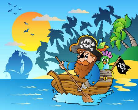 sombrero pirata: Pirata remando en barco cerca de la isla - ilustraci�n vectorial. Vectores