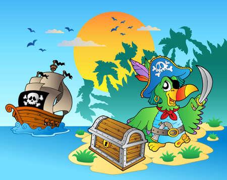 cofre del tesoro: Loro de pirata y el pecho en la isla - ilustraci�n vectorial.