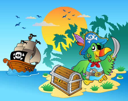 Pirate parrot and chest on island - vector illustration. Vector