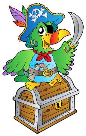filibuster: Pappagallo pirata su scrigno - illustrazione vettoriale.