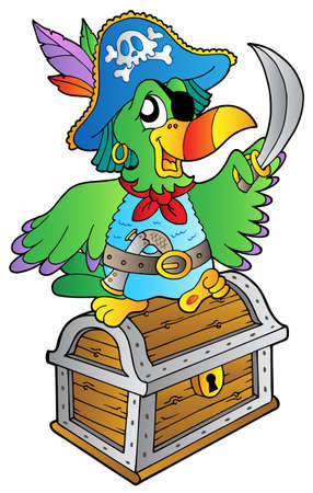 Pirate parrot on treasure chest - vector illustration. Stock Vector - 8976746