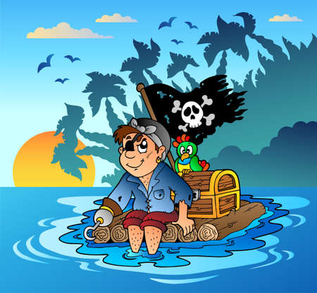 Pirate sailing on wooden raft - vector illustration. Vector