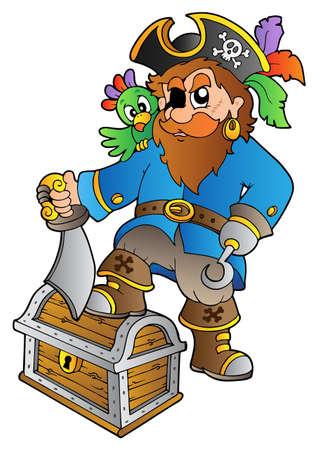 Pirata en el cofre del Tesoro - ilustración vectorial.