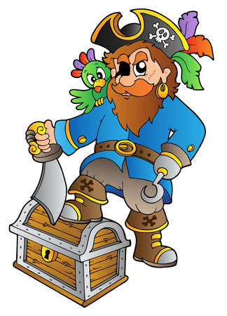 Pirate standing on treasure chest - vector illustration. Vector