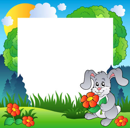 tame: Spring frame with bunny and flowers - Vector illustration.