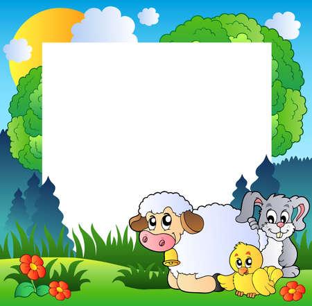 chicken cartoon: Spring frame with various animals - Vector illustration.