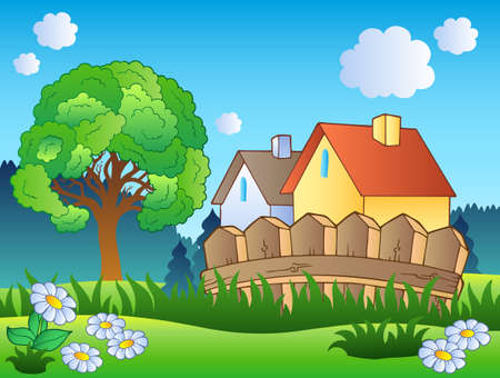 rural land: Spring landscape with two houses - vector illustration.