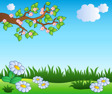 clouds: garden: Spring meadow with daisies - vector illustration. Illustration