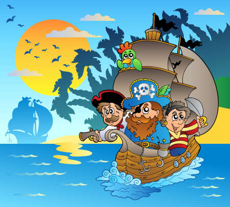 ship anchor: Three pirates in boat near island - Vector illustration.