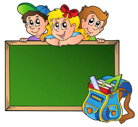 classroom chalkboard: Board with children and school bag