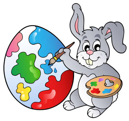 animals clipart: Bunny artist painting Easter egg