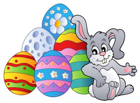 conejo caricatura: Conejo descansa al lado de huevos de Pascua