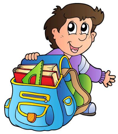 sac d ecole: Gar�on de bande dessin�e avec le sac d'�cole Illustration