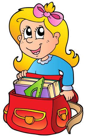 Fille de bande dessin�e avec le sac d'�cole Illustration