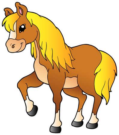 caballo caricatura: Caballo walking de dibujos animados