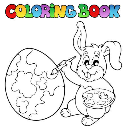 Coloring book with bunny artist  Vector