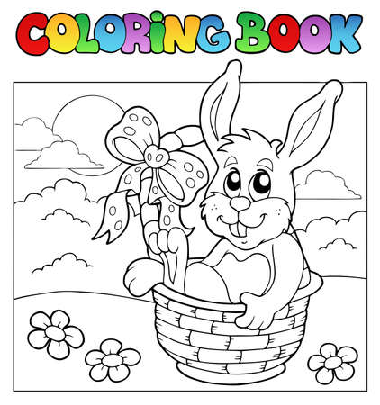 small basket: Coloring book with bunny in basket  Illustration