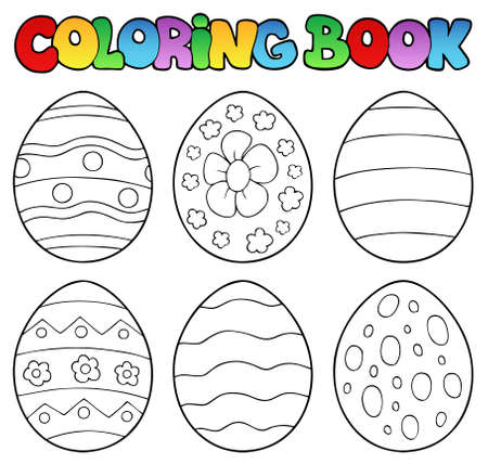 Coloring book with Easter eggs  Illustration