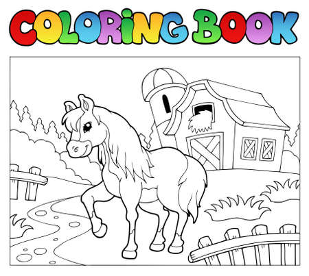 granary: Coloring book with farm and horse   Illustration
