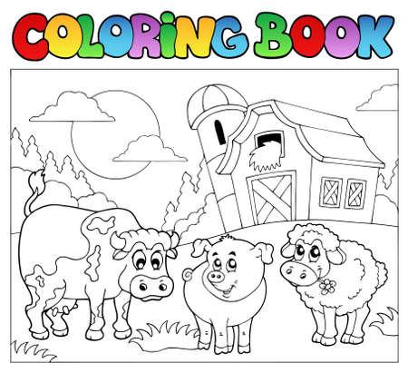 livre � colorier: Coloration du livre avec des animaux de ferme