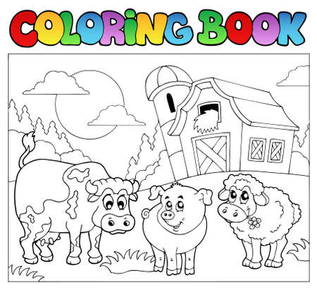 farm structures: Coloring book with farm animals  Illustration