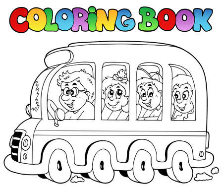 Coloring book with school bus  Vector