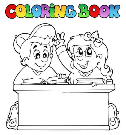 Coloring book with two pupils   Vector