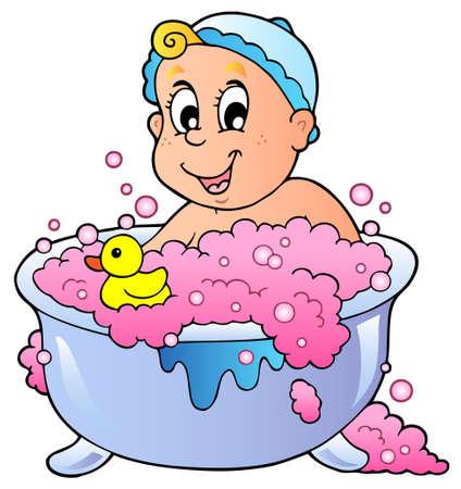 bathing: Cute bathing baby  Illustration