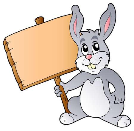 lapin cartoon: Planche de bois de la holding cute bunny