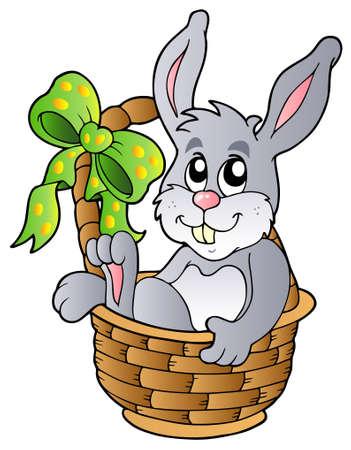 conejo caricatura: Conejo de Pascua en la cesta