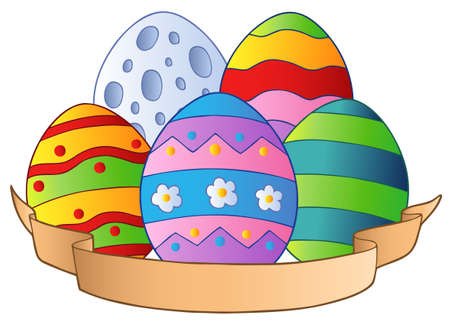 cartoon egg: Easter eggs with banner  Illustration
