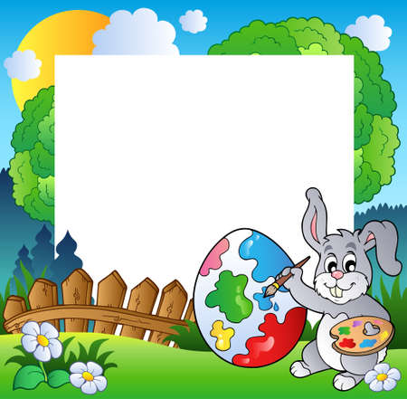 Easter frame with bunny artist  Vector