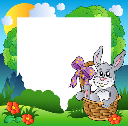 Easter frame with bunny in basket  Stock Vector - 9133443