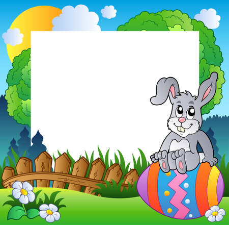 Easter frame with bunny on egg Stock Vector - 9133447
