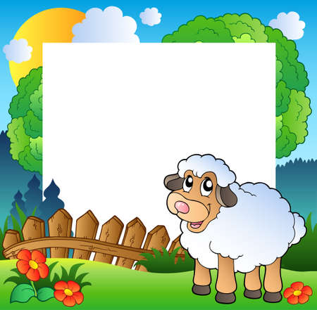 Easter frame with sheep on meadow  Vector