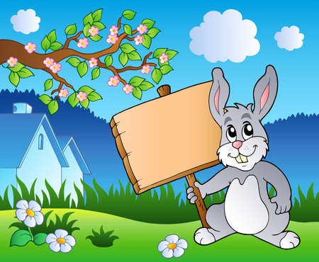Meadow with bunny holding board  Stock Vector - 9133438