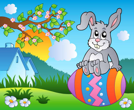 Meadow with bunny on Easter egg Stock Vector - 9133439