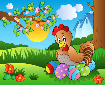 Meadow with hen and Easter eggs  Vector