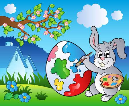 Spring meadow with bunny artist  Vector