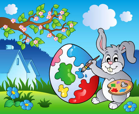 hayfield: Spring meadow with bunny artist  Illustration