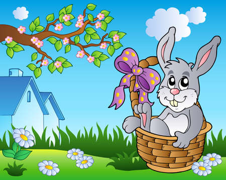 Spring meadow with bunny in basket Stock Vector - 9133441